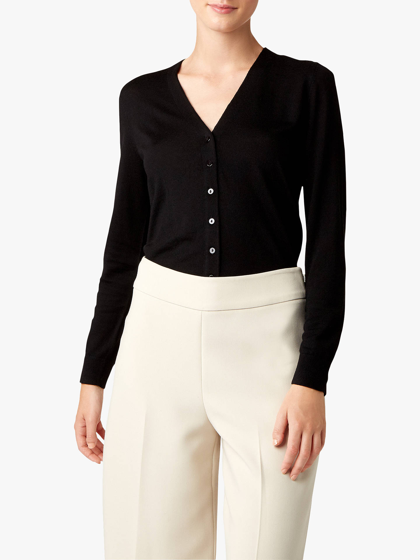 Buy Hobbs Matilda Merino Wool Cardigan, Black, XS Online at johnlewis.com