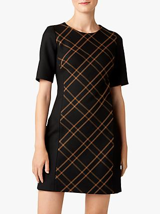 Hobbs Mari Check Panel Dress, Black/Camel