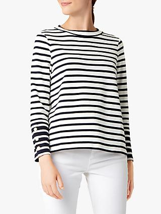Hobbs Imogen Cotton Striped Top, Navy/Ivory