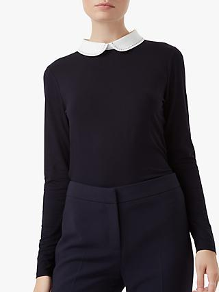 Hobbs Sasha Collar Top, Navy/Ivory