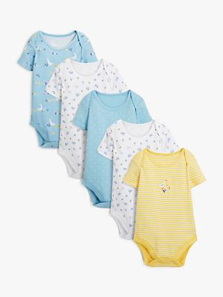 John Lewis & Partners Baby GOTS Organic Cotton Duck Bodysuits, Pack of 5, Green/Yellow
