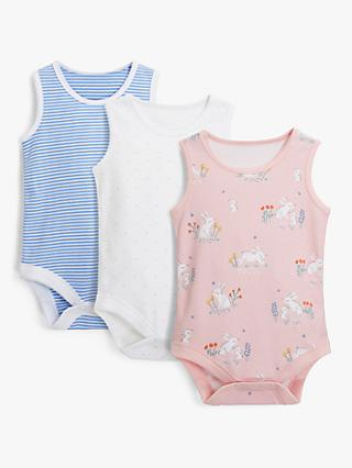John Lewis & Partners Baby GOTS Organic Cotton Bunny Bodysuits, Pack of 3, Blue/Pink