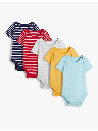 John Lewis & Partners Baby GOTS Organic Cotton Stripe Bodysuits, Pack of 5, Multi