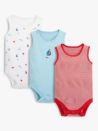 John Lewis & Partners Baby GOTS Organic Cotton Boat Bodysuits, Pack of 3, Blue/Red