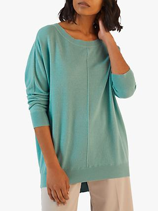 Jigsaw Button Back Drop Hem Sweater, Mint