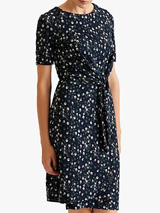 Jigsaw Fan Flower Jersey Dress, Navy