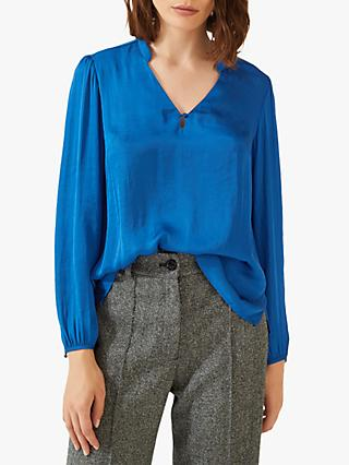 Jigsaw Crocus Drape Blouse, Blue