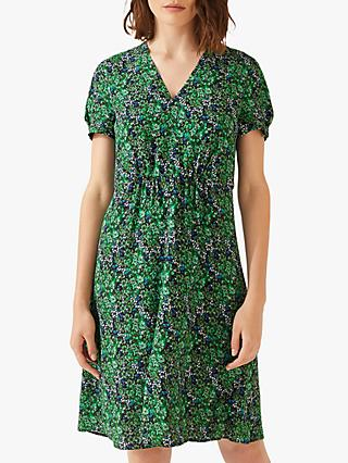 Jigsaw Floral Bouquet Tea Dress, Emerald