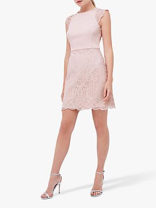 Coast Lace Mini Dress, Blush Pink