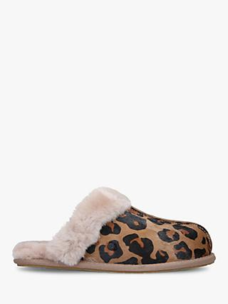 UGG Scuffette II Leopard Print Sheepskin Slippers, Multi/Brown