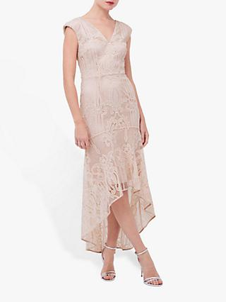 Coast Lace Peplum Dress, Blush