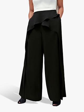 Coast Waterfall Wide Leg Trousers, Black