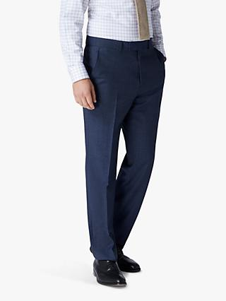 Jaeger Mini Grid Wool Regular Fit Suit Trousers, Blue