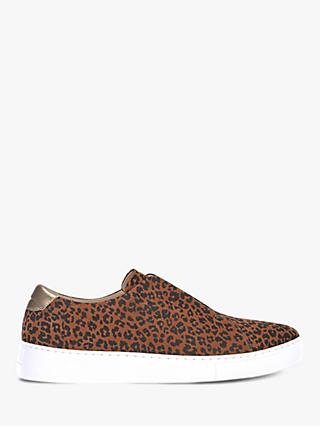 Mint Velvet Lila Leopard Slip On Trainers, Dark Orange