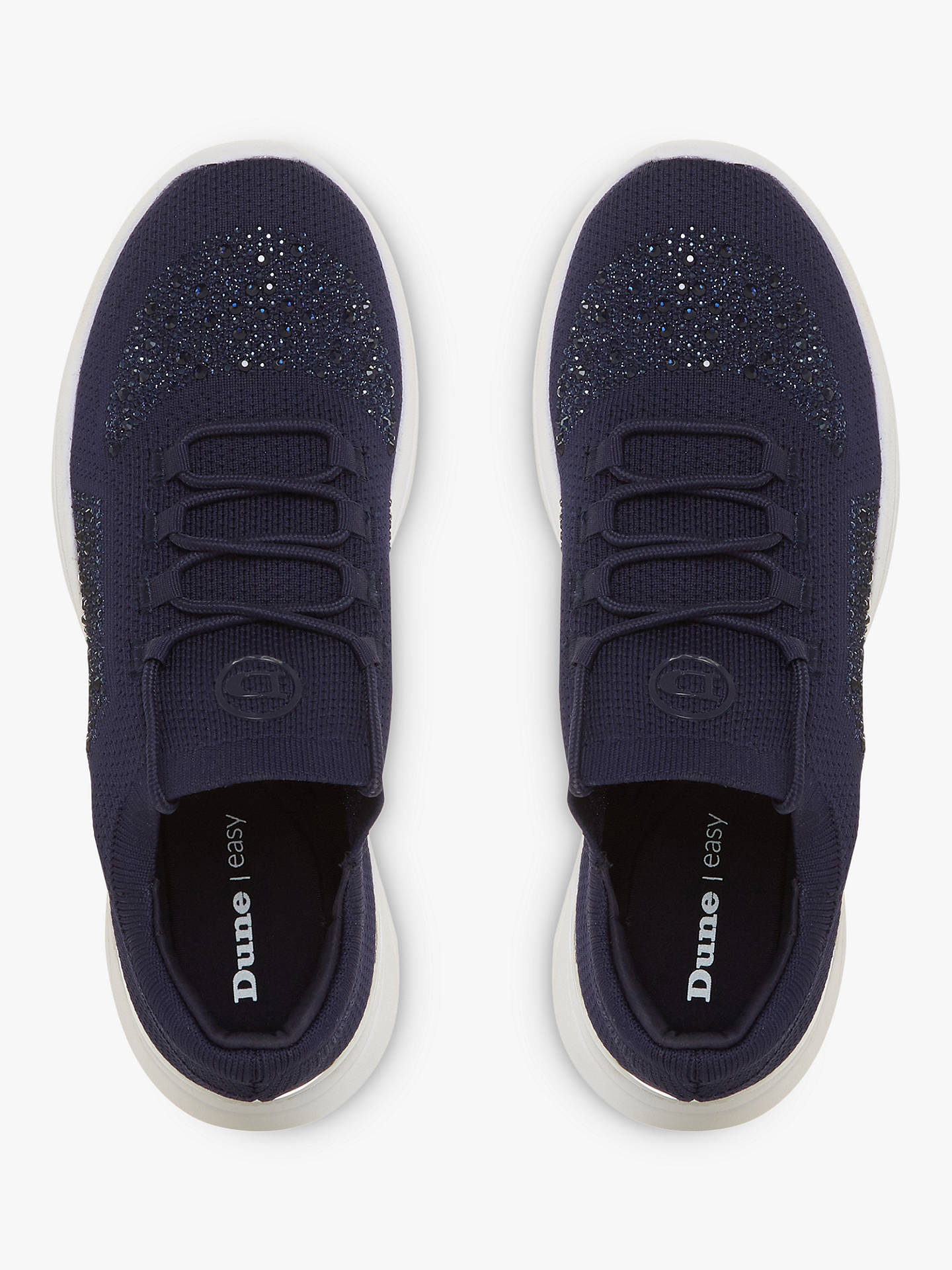 Buy Dune Easy Lace Up Embellished Trainers, Navy, 3 Online at johnlewis.com