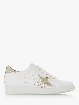 Dune Edris Lace Up Star Stude Leather Trainers, White/Gold