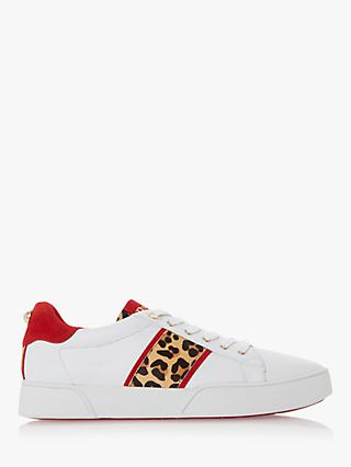 Dune Wide Fit Elsie Lace Up Leather Trainers, White/Leopard