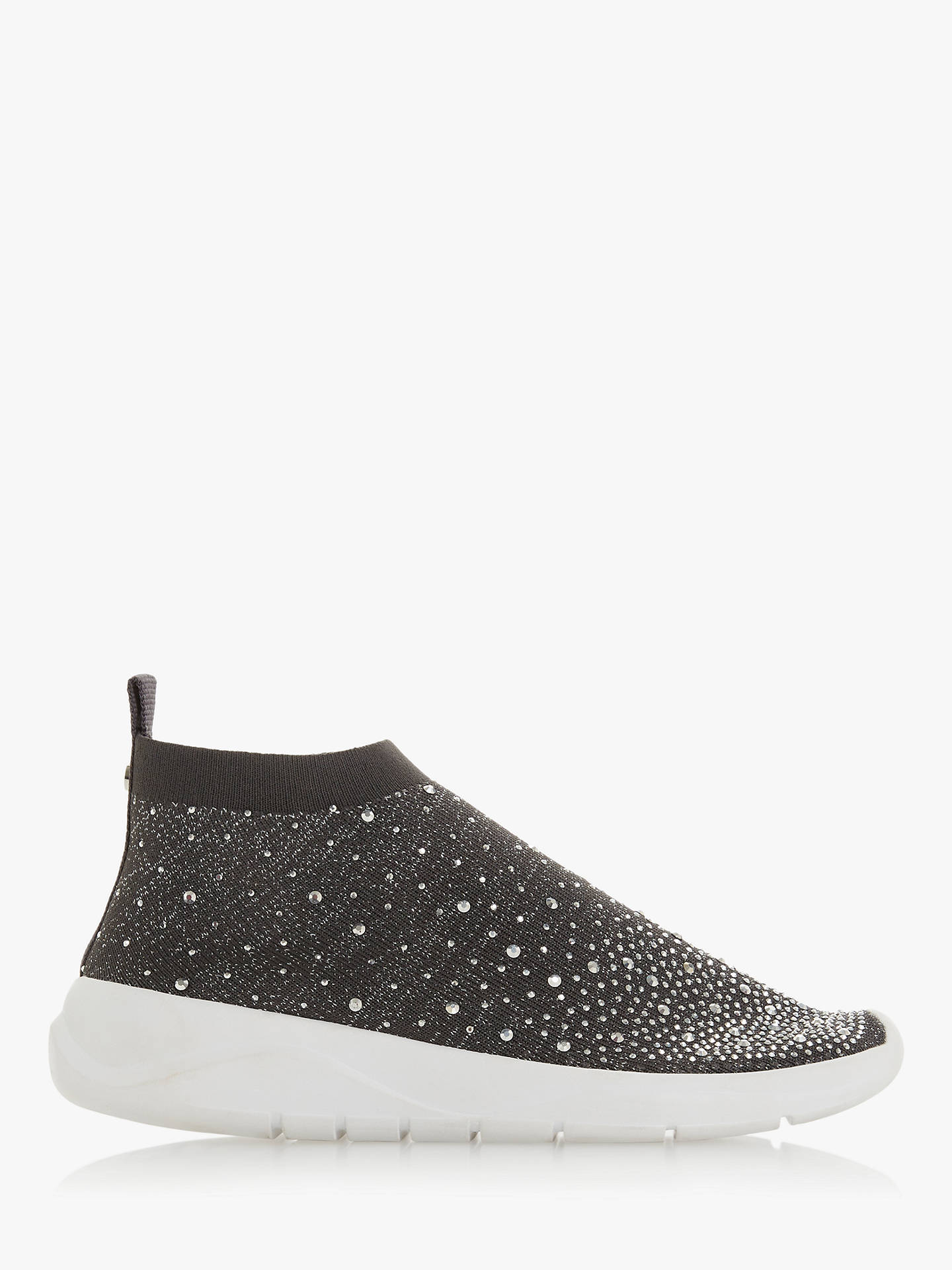 Buy Dune Emerald Embellished Sock Trainers, Grey, 5 Online at johnlewis.com
