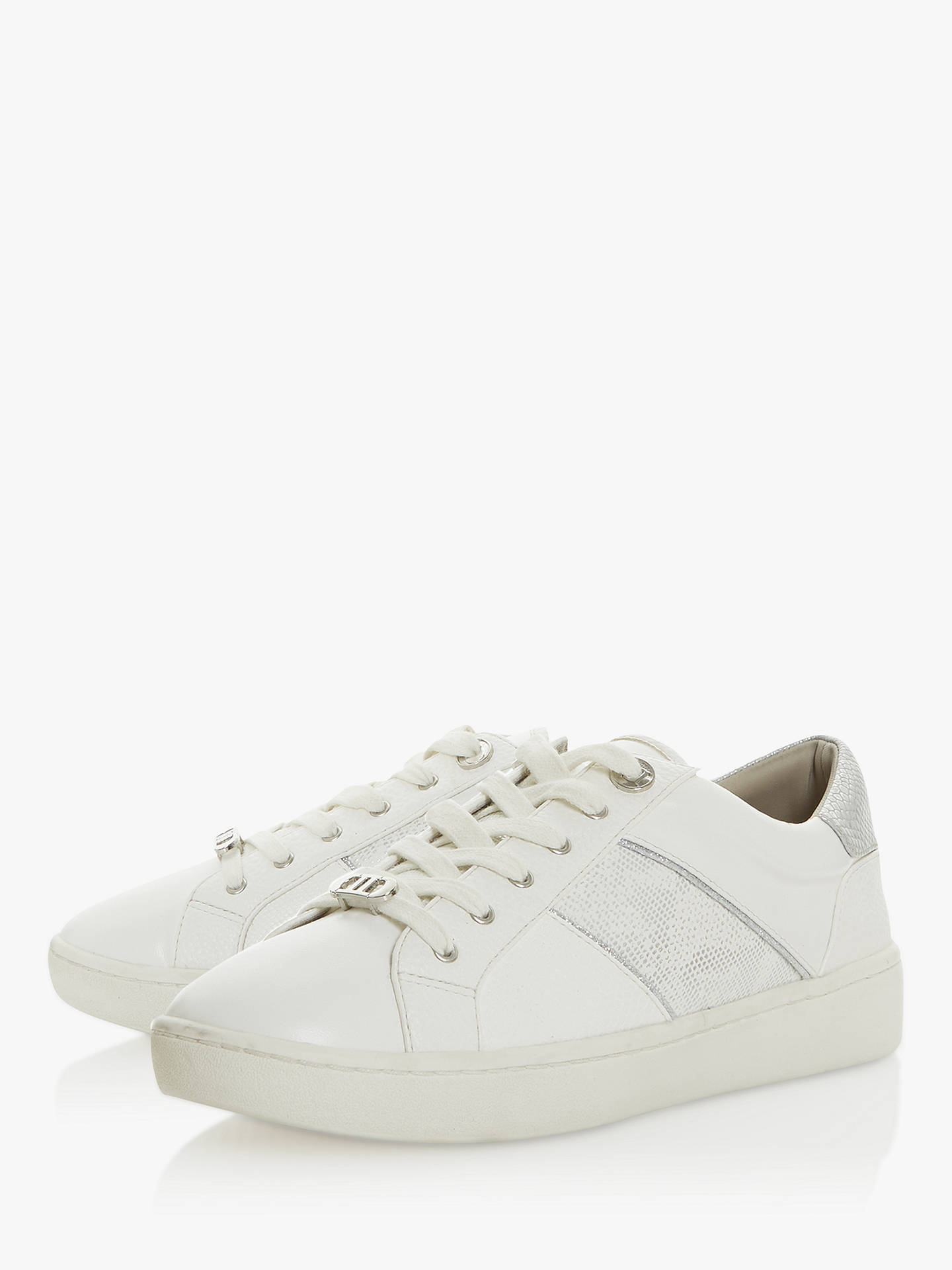 Buy Dune Everlee Panel Trainers, White, 3 Online at johnlewis.com