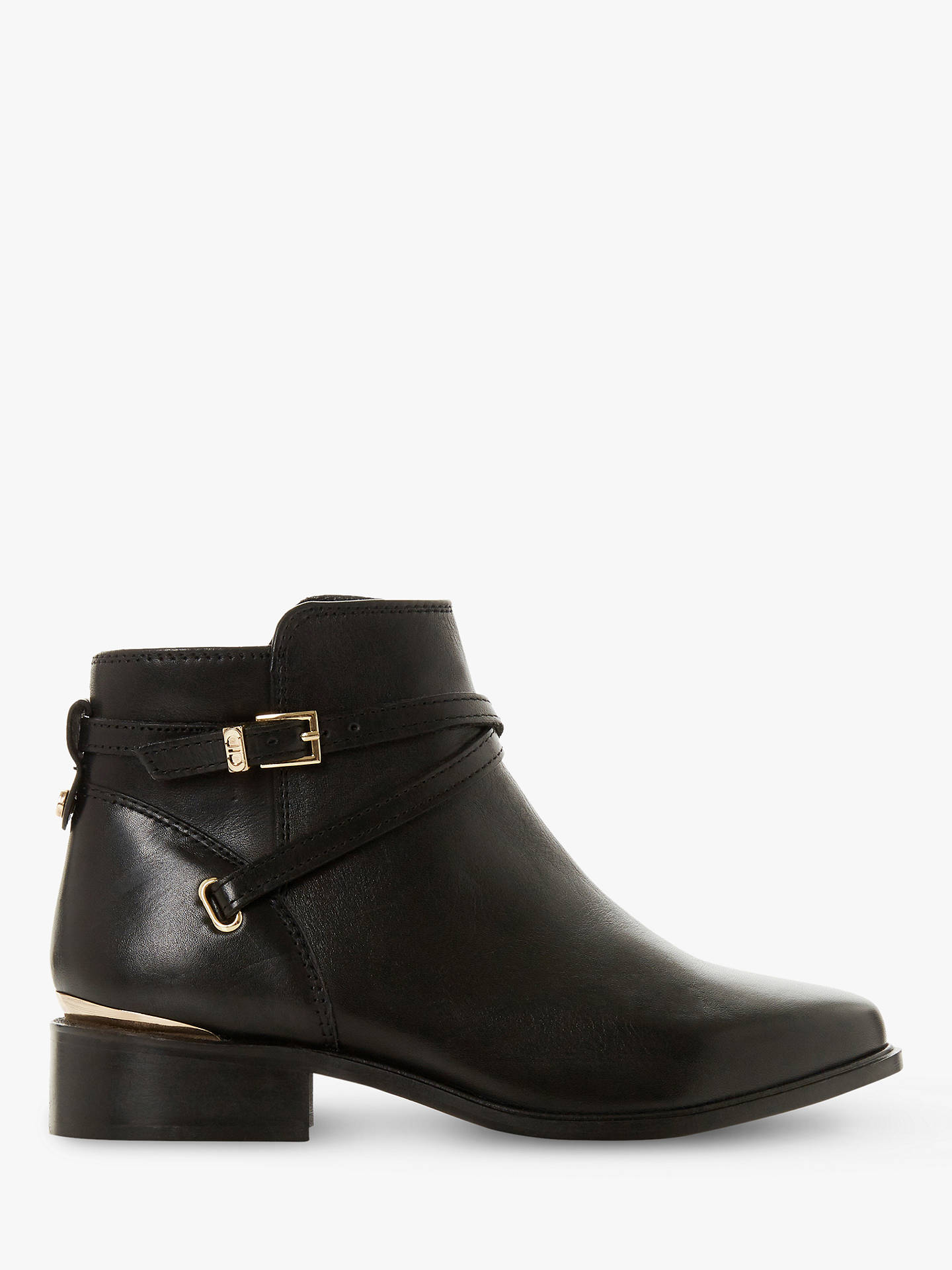 buy good big discount sale shop best sellers Dune Wide Fit Peper Leather Low Block Heel Ankle Boots, Black