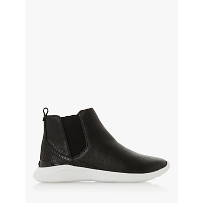 dune easy leather high top trainers, black