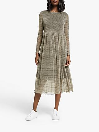 Numph Freyja Long Sleeve Polka Dot Mesh Midi Dress, Champagne