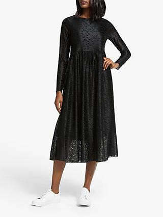 Numph Muireann Long Sleeve Midi Jersey Dress, Caviar