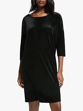 Numph Irene Ribbed Velour Dress, Caviar