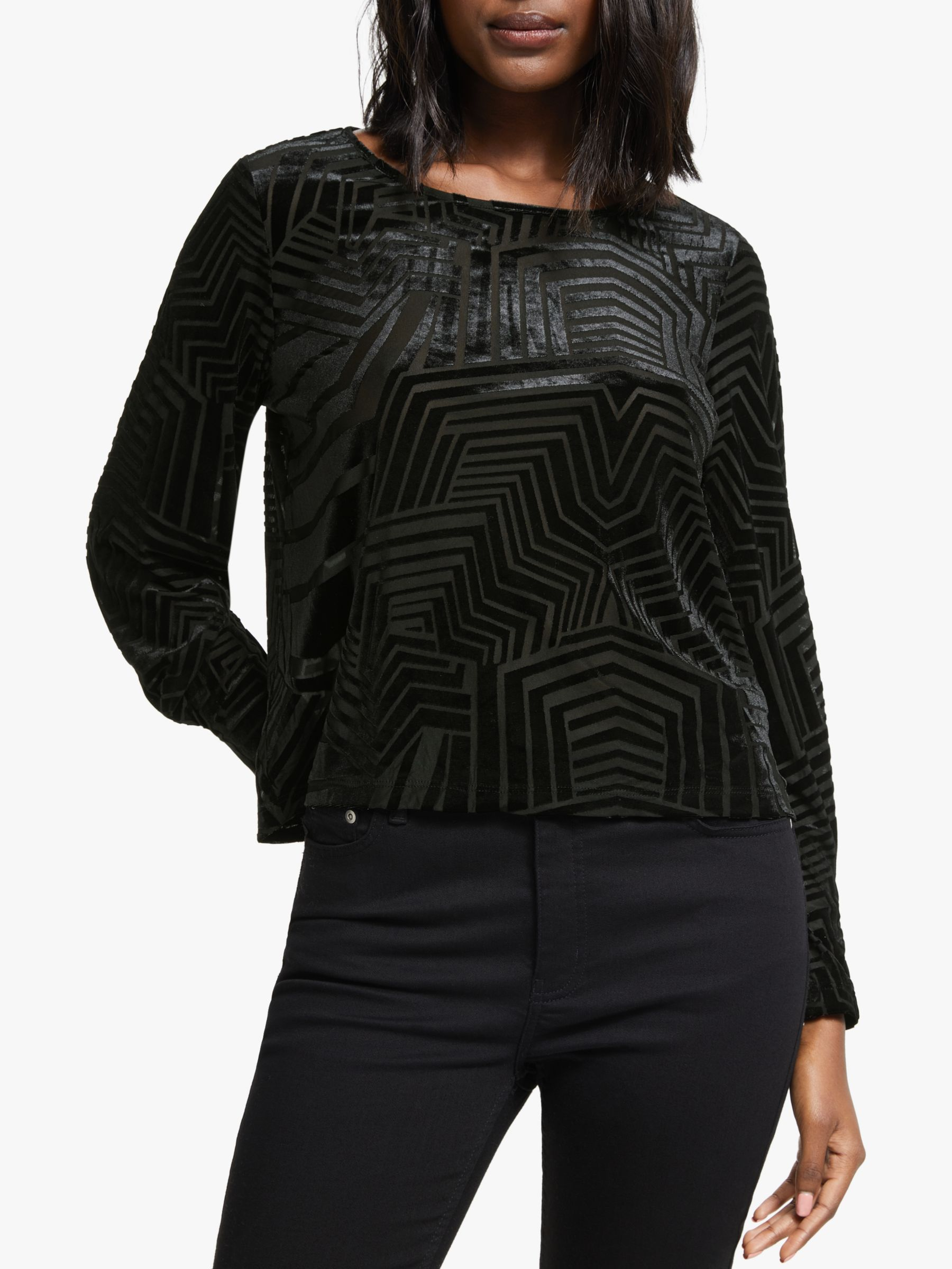 Numph Numph Adidaja Long Sleeve Velour Top, Caviar