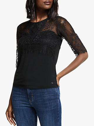 Numph Nahara 1/2 Sleeve Lace Top, Caviar
