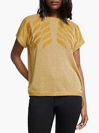 Numph Darlene Short Sleeve Knitted Top, Gold