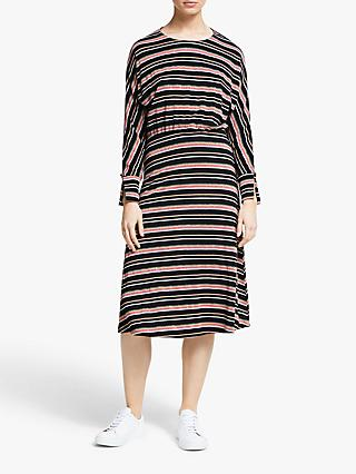 Numph Maximilia Long Sleeve Stripe Midi Dress, Caviar/Multi