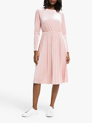 Numph Nakotah Long Sleeve Velour Midi Dress, Adobe Rose