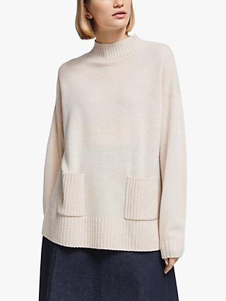 Kin Pocket Funnel Neck Jumper, Natural