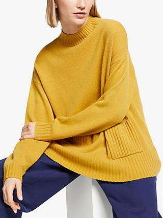Kin Pocket Detail Funnel Neck Jumper, Mustard