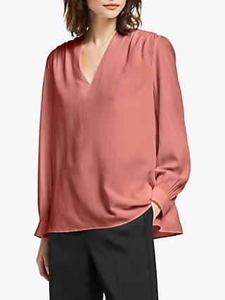 Modern Rarity Silk V Neck Top, Pink