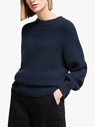 Kin Diagonal Neck Knit Jumper, Navy