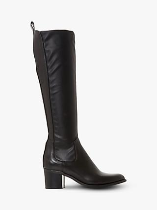 Dune Telling Mid Block Heel Knee High Boots, Black