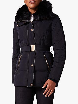 Phase Eight Deasia Short Diamond Puffer Jacket, Navy