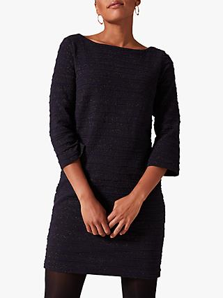 Phase Eight Granya Textured Sparkle Tunic Dress, Navy