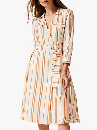 Phase Eight Zabel Stripe Dress, Ochre/White