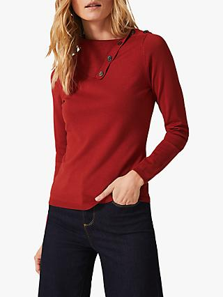 Phase Eight Rachele Button Neck Jumper, Spice