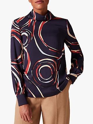 Phase Eight Swirl Satin Blouse, Navy/Multi
