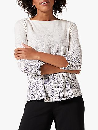 Phase Eight Sorcha Faded Floral Print Top, Ivory