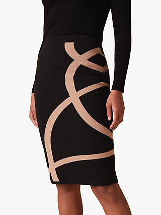Phase Eight Silvia Swirl Detail Skirt, Black/Camel