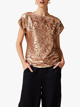 Phase Eight Avelina All Over Sequin Tee, Rose Gold