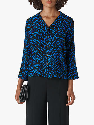Buy Whistles Scattered Print Pyjama Shirt, Blue/Multi, XS Online at johnlewis.com