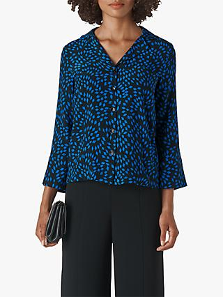 Whistles Scattered Print Pyjama Shirt, Blue/Multi