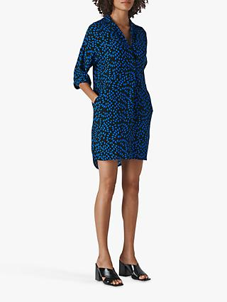 Whistles Lola Scattered Diamond Dress, Blue/Multi