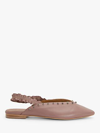AND/OR Harlow Leather Slingback Studded Flat Pumps, Pink